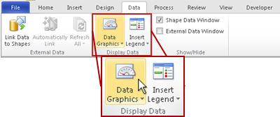 the display data group on the data tab in the visio 2010 ribbon - Shape Data Visio