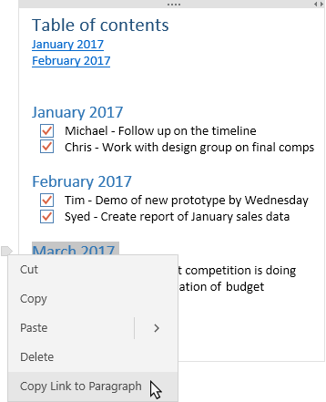 Shows note with Table of Contents and a contextual menu showing a link being copied.