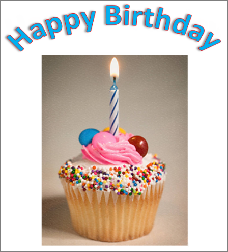 WordArt example with the words Happy Birthday and a picture