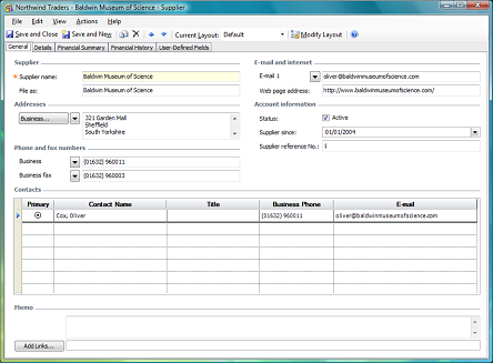 general tab on supplier form