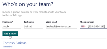 Add the names and numbers of your team members.
