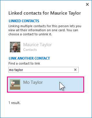 Linking two contacts