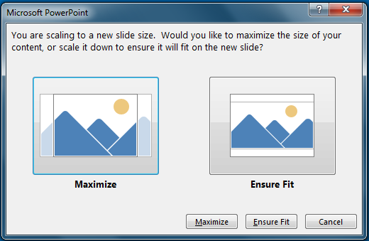 If you choose to maximize, some content might fall outside the print margins, as you can see in the image on the left.