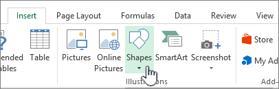 Excel Insert shapes button