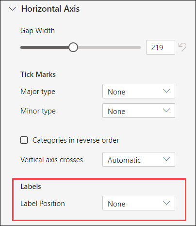 Chart Axis Label Options for Excel for the web