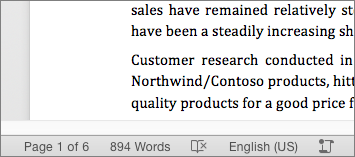 At the bottom of the document, in the status bar, the total number of words is showing
