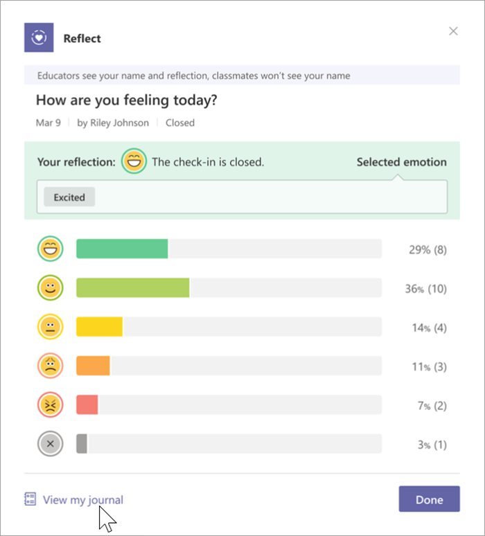 """Screenshot of student view of the closed check-in. Bar graphs extend horizontally from each of 5 emoji's and a """"no response"""" indicator. The percentages of votes for each emoji are on the right. A cursor points to the link at the bottom reading """"view my journal"""""""