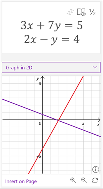 screenshot of math assistant generated graph showing the equations 3 x plus 7 y equals 5 and 2 x minus y equals 4. the graph shows two intersecting lines, one purple and one red.