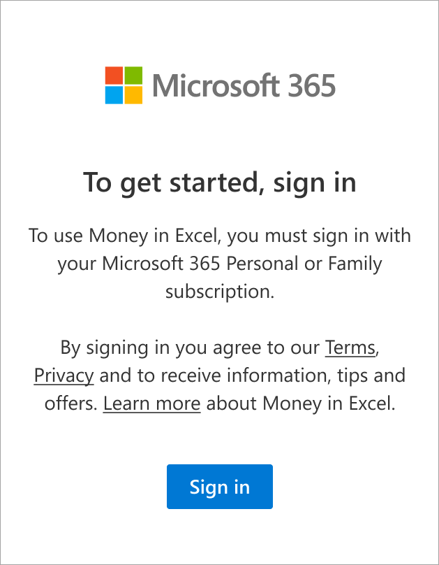 Select Sign in to sign in with your Microsoft 365 Family or Personal subscription.