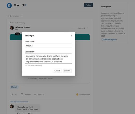 Screenshot showing editing topics in Yammer