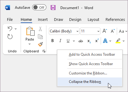 Collapse the ribbon