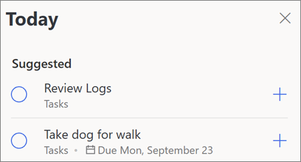Today suggestions for My Day in Microsoft To-Do