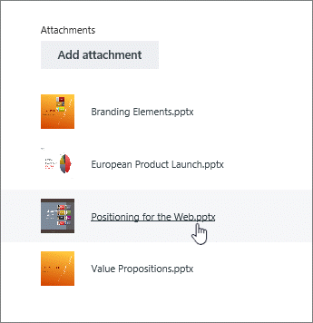 Choose a document from the attachment list in Details