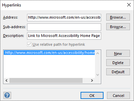 Hyperlinks dialog for adding a description for a link in Visio.