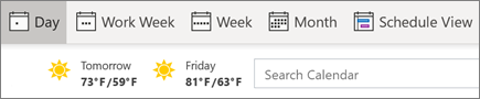 Changing views in Outlook's calendar