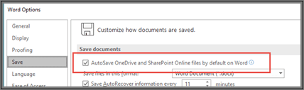 The File > Options > Save dialog showing the checkbox to enable or disable autosave