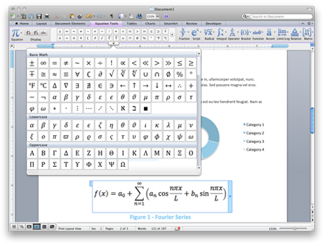 Screenshot showing Equation tools