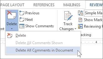 Show all comments in word document
