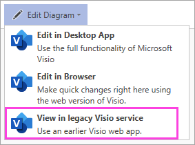 Open Diagram, View in legacy Visio service command