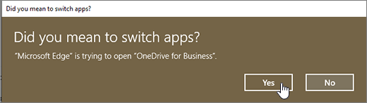 Windows 10 Edge browser Switch App dialog with Yes highlighted