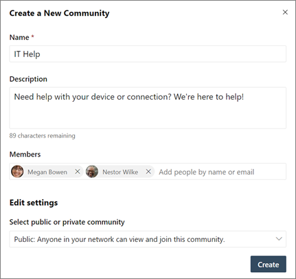 Create a new Yammer community