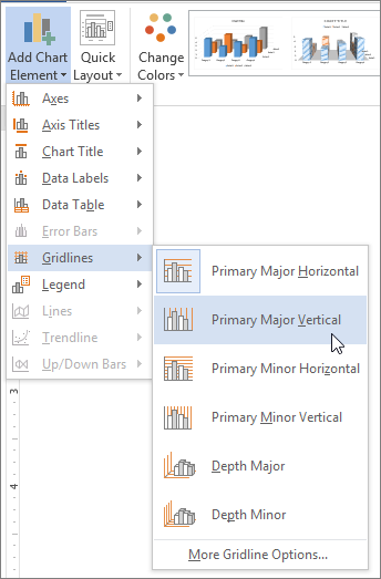 Display or hide chart gridlines office support selecting a gridline option on the gridlines menu ccuart Choice Image