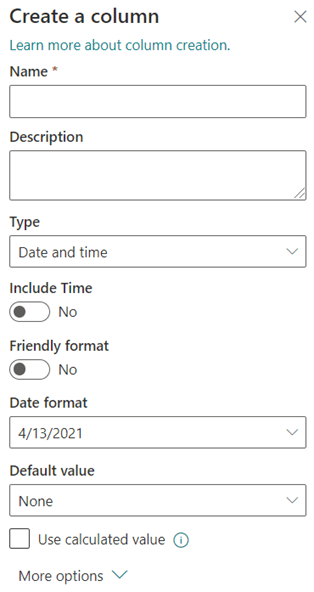 """Create a """"Date and time"""" column."""