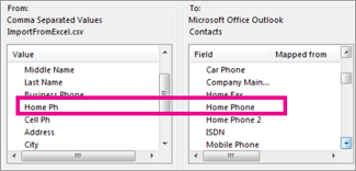 Map fields in the import file to fields in Outlook