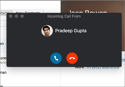 Screenshot of incoming call dialog.