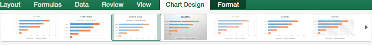 On the Chart Design tab, select a chart format