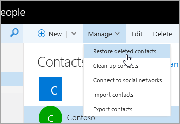 A screenshot of the context menu for the 'Manage' button, with 'Restore deleted contacts' selected.