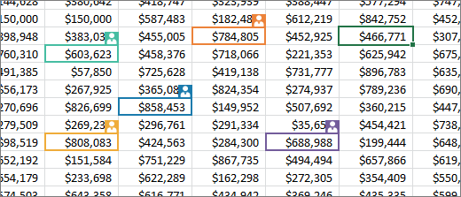 Excel data with different colored selections for different people