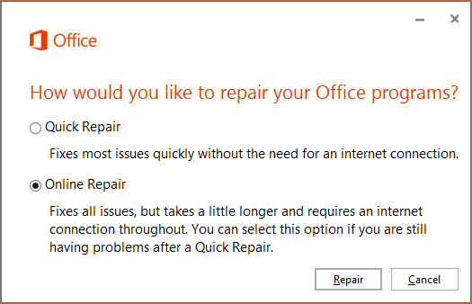 The Office Repair dialog box when repairing the OneDrive for Business sync app