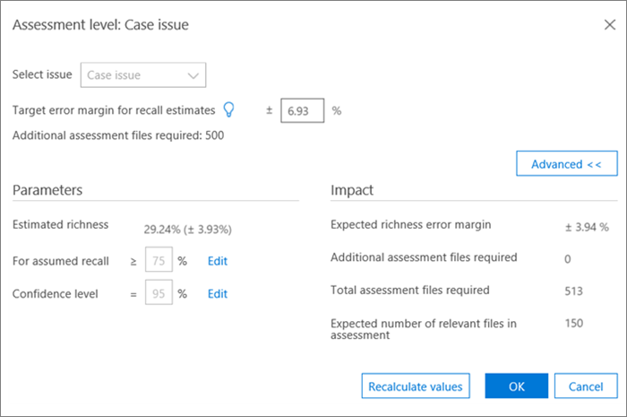 Assessment Level Case Issue advanced view