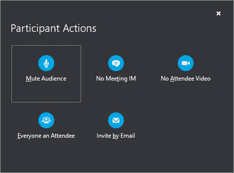 Participant Actions options