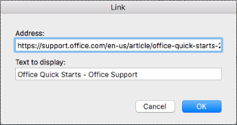 Hyperlink dialog in Mac.