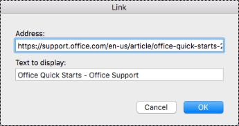 Hyperlink dialog in Mac.