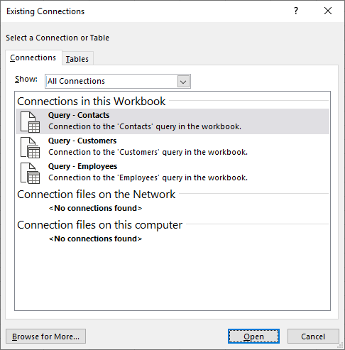 The Existing Connectios dialog box in Excel displays a list of data sources currently in use in the workbook
