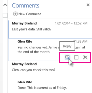 Image Reply command under comment in Comments pane in Word Web App.
