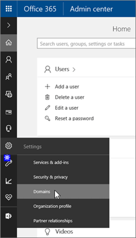 Click Domains on Office 365 Admin page