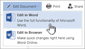 Word document opened from SharePoint library with Edit in Word highlighted