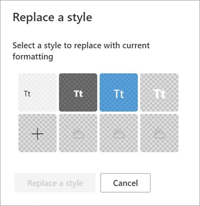 Add or replace a style dialog box