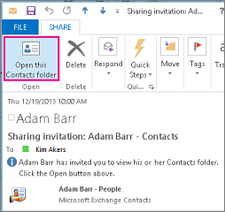 Received share contacts invitation inside your organization