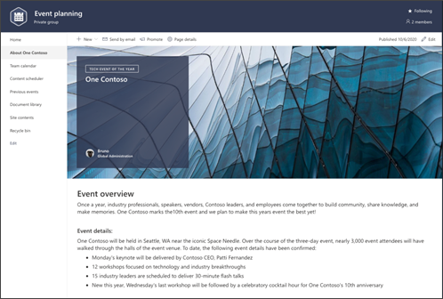Screenshot of pages preview for event planning site template