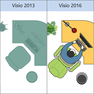 Visio 2013 Office shapes, Visio 2016 Office shapes