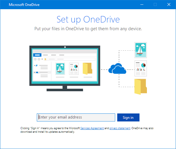 OneDrive setup screen new UI
