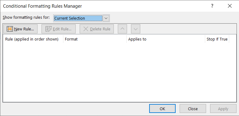 Conditional Formatting Rules Manager dialog box