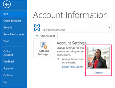 Change photo link in Outlook