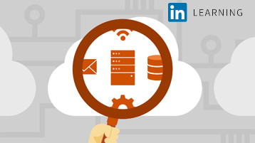 Shows a card with an illustration of a magnifying glass. Represents the course called Microsoft Cloud: Explore Cloud Services.