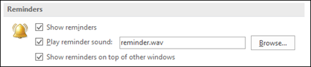 You can show reminders on top of other windows.